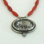 Sterling silver,rutile quarts and coral beads