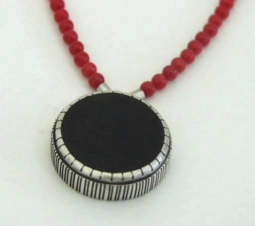 Sterling silver,african blackwood and red coral beads