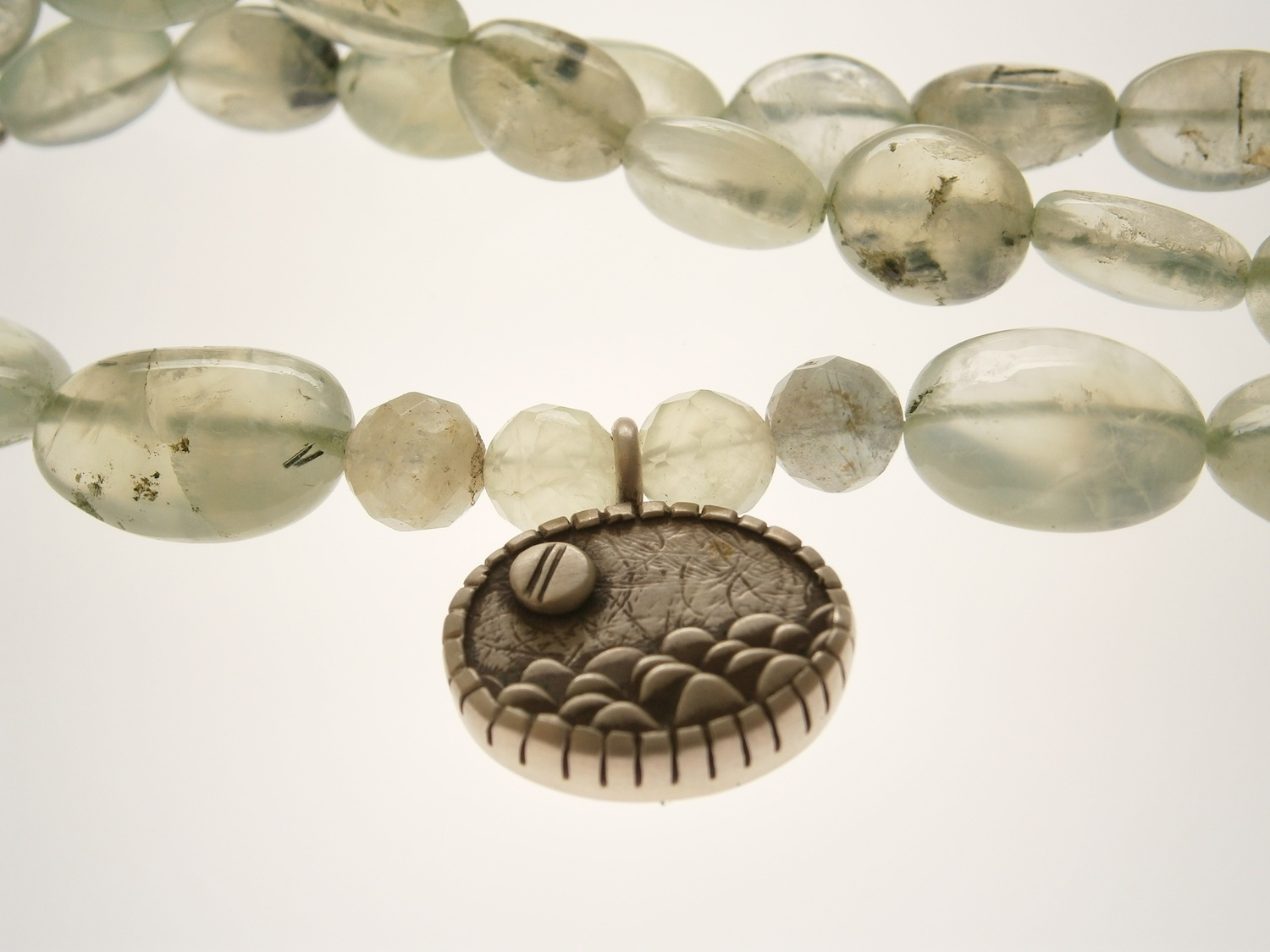 Ocean pendant on prehnite beads